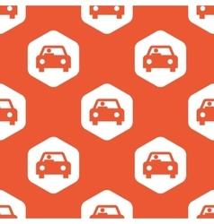 Orange hexagon car pattern vector