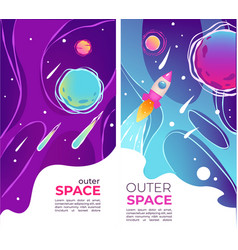Outer space and universe exploration posters with vector