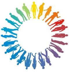 People rainbow star vector
