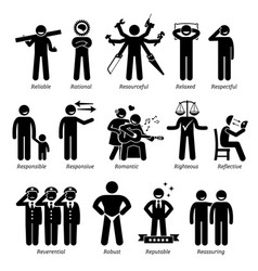 Positive personalities character traits stick vector