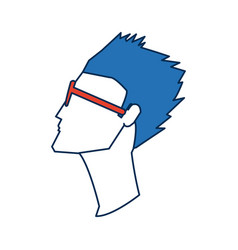 profile man avatar portrait with blue hair vector image