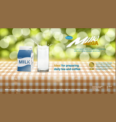 realistic 3d milk carton packing and glass with vector image