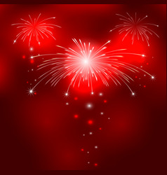 Red background with fireworks vector