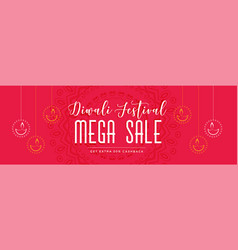 red diwali mega sale banner with hanging diya vector image