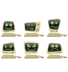 Retro computer icon set with faces vector