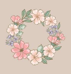 Retro wreath floral flower hand drawn illus vector