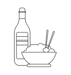 rice bowl and drink bottle black and white vector image