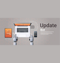 Robot updating digital devices software vector