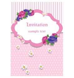 Rose Invitation Card with lace ornaments vector image vector image