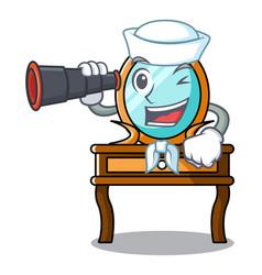 Sailor with binocular dressing table mascot vector
