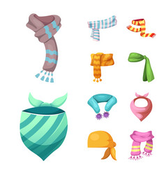 Scarf and shawl icon set vector