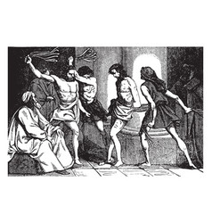 scourging jesus vintage vector image