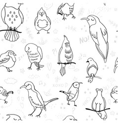 Seamless background with outline birds vector