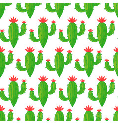 seamless cactus pattern on light background vector image