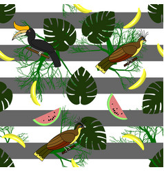 Seamless pattern with tropical birds plants and vector