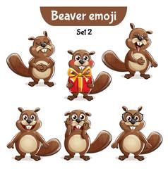 Set of cute beaver characters set 2 vector