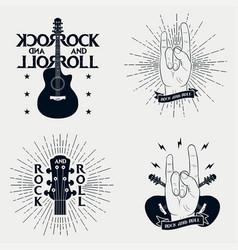 set rock-n-roll prints for t-shirt vector image