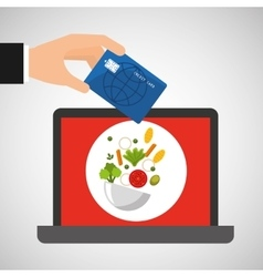 Shopping online concept order healthy food vector