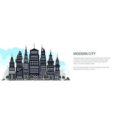 silhouette modern big city banner vector image