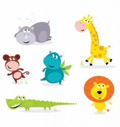 six cute safari animals vector image
