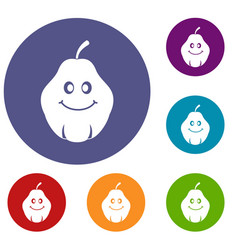 Smiling quince fruit icons set vector