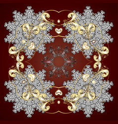 Snowflake ornament on a red background snowflake vector