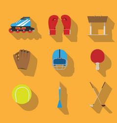 sports eqipment set icon flat design gaming items vector image