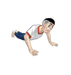 Sticker line man action cartoon vector