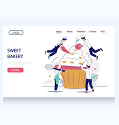 sweet bakery website landing page design vector image