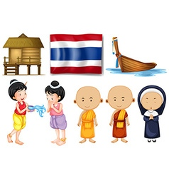 Thai flag and other cultural objects vector
