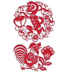 The twelve chinese zodiac paper cut vector image
