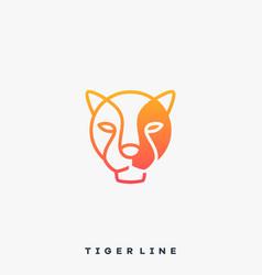 tiger line art template vector image