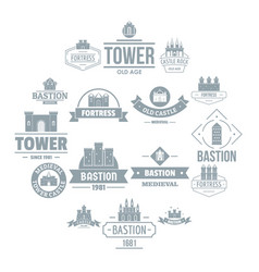 towers castles logo icons set simple style vector image