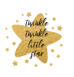 twinkle twinkle little star text with gold stars vector image