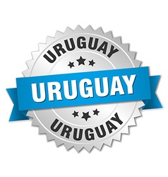 Uruguay round silver badge with blue ribbon vector image