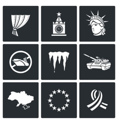USA Russia conflict icons vector image