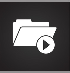 Video blogger files icon on black background for vector