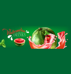 watermelon drinks horizontal poster vector image
