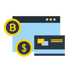 Website bank credit card bitcoin dollar fintech vector