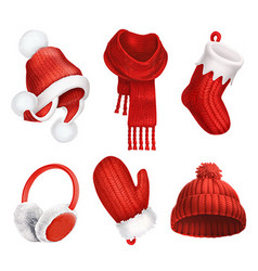 Winter clothes Knitted hat Christmas sock Scarf vector