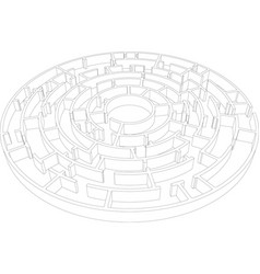 Wire-frame round intricate labyrinth vector
