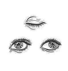 woman eyes set sketch vector image
