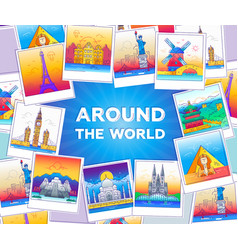 around the world - line travel vector image vector image