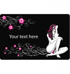 card with flowers and girl vector image vector image