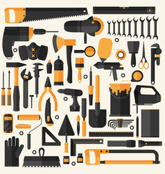 hand tools icon set flat design eps10 format vector image