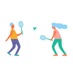 man and woman playing tennis vector image