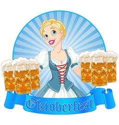 Oktoberfest girl label vector image