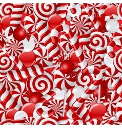 Seamless background with red and white candies vector image vector image