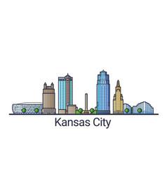 flat line kansas city banner vector image vector image