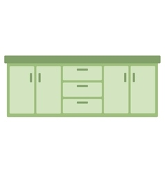 Kitchen cabinet with drawers vector image vector image